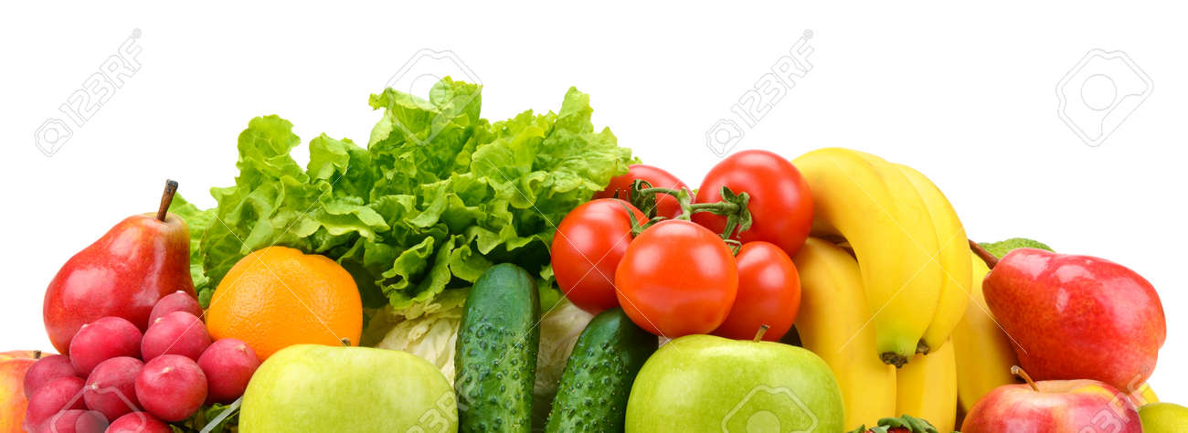 Set fruits and vegetables isolated on white - 122009143