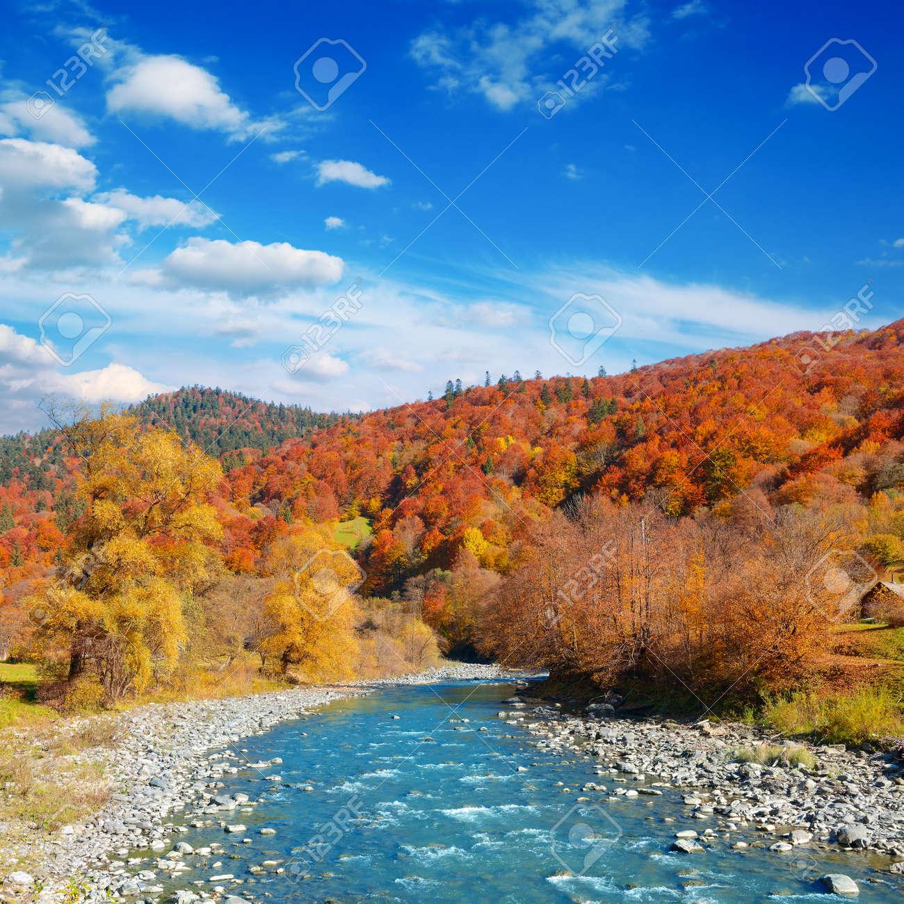 Bright autumn landscape valley mountain river. - 126788147