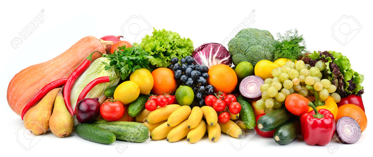 Heap fruit and vegetables isolated on white - 128112431