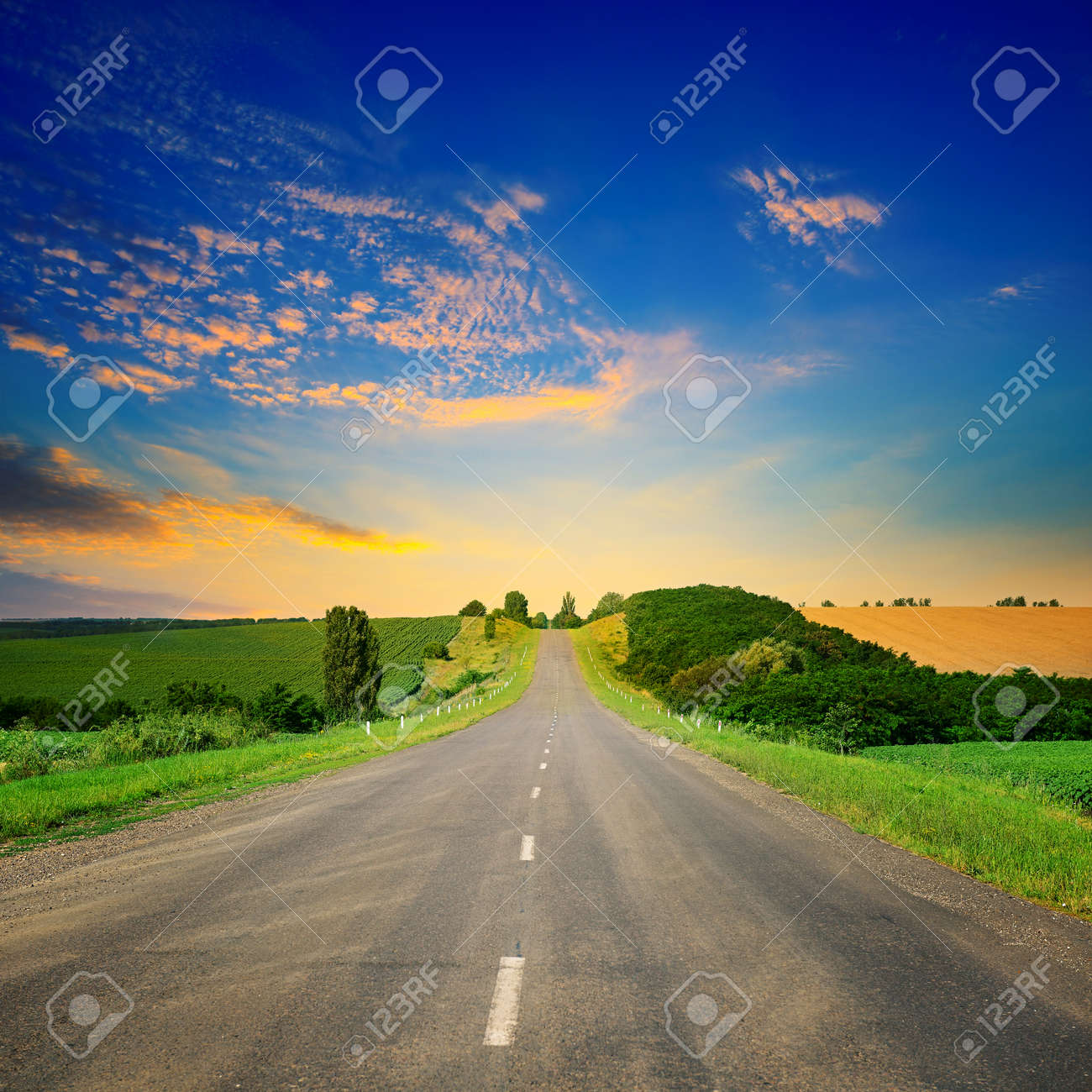 Sunrise over picturesque landscape. Straight road and fields illuminated rays sun. - 128112700