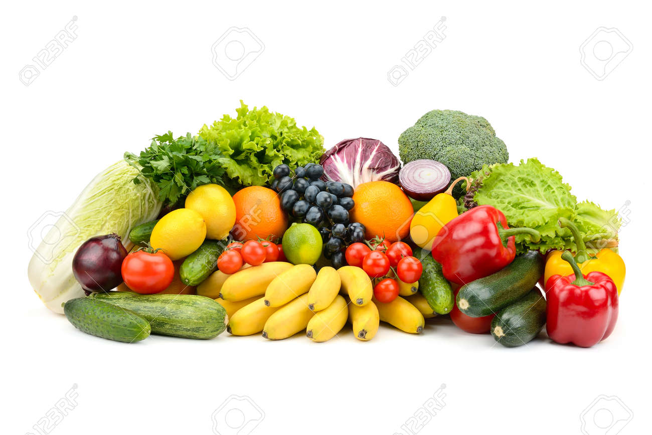 Different multi-colored healthy fruits and vegetables isolated on white background. - 139185107