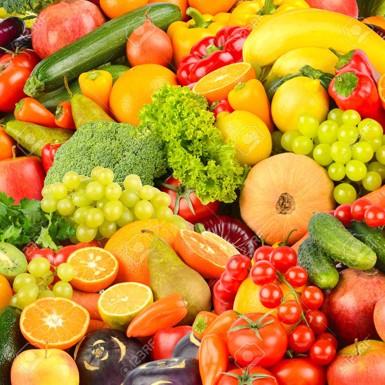 Square background made of vegetables and fruits. Food concept. Top view - 152930001