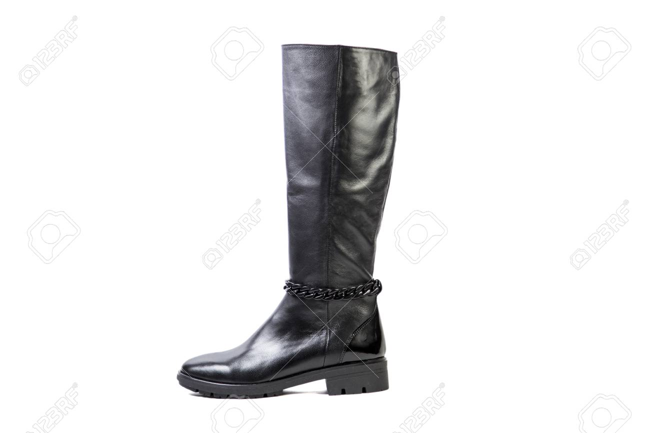 Spring Leather Boots On A White