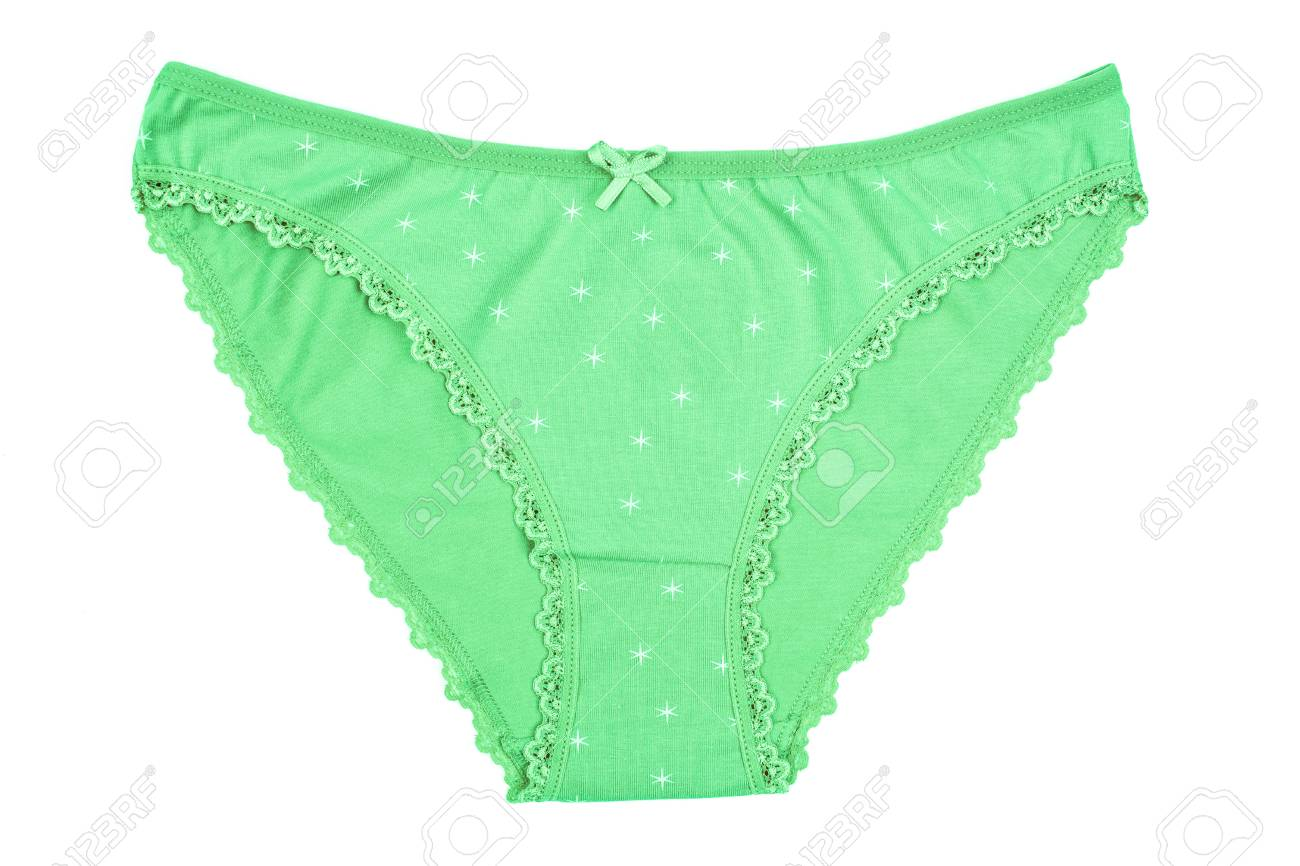 a10c88523744 Stock Photo - Women's cotton panties flowered isolated on white background.  Green underwear.
