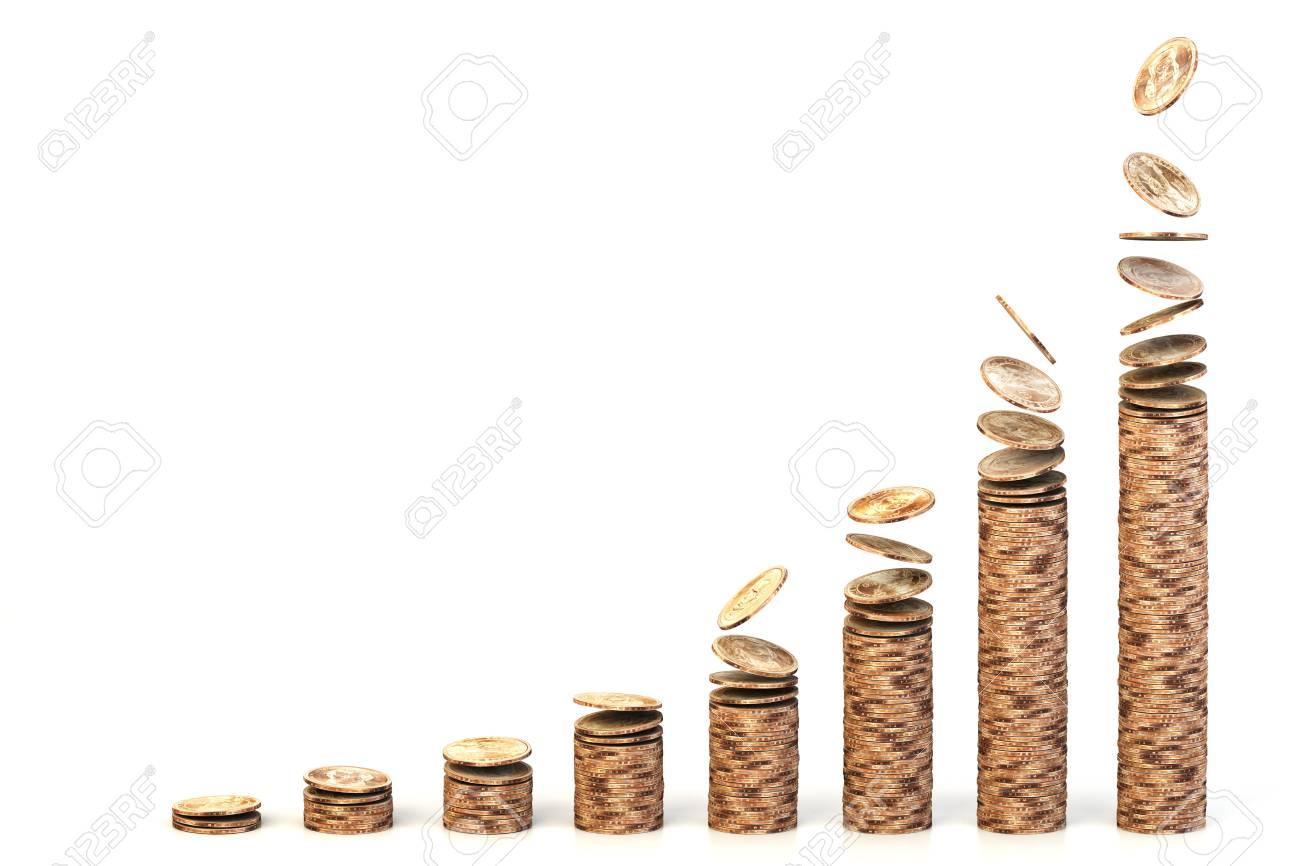 Wachsende Diagramm Mit Stapeln Von Fallenden Dollar Münzen