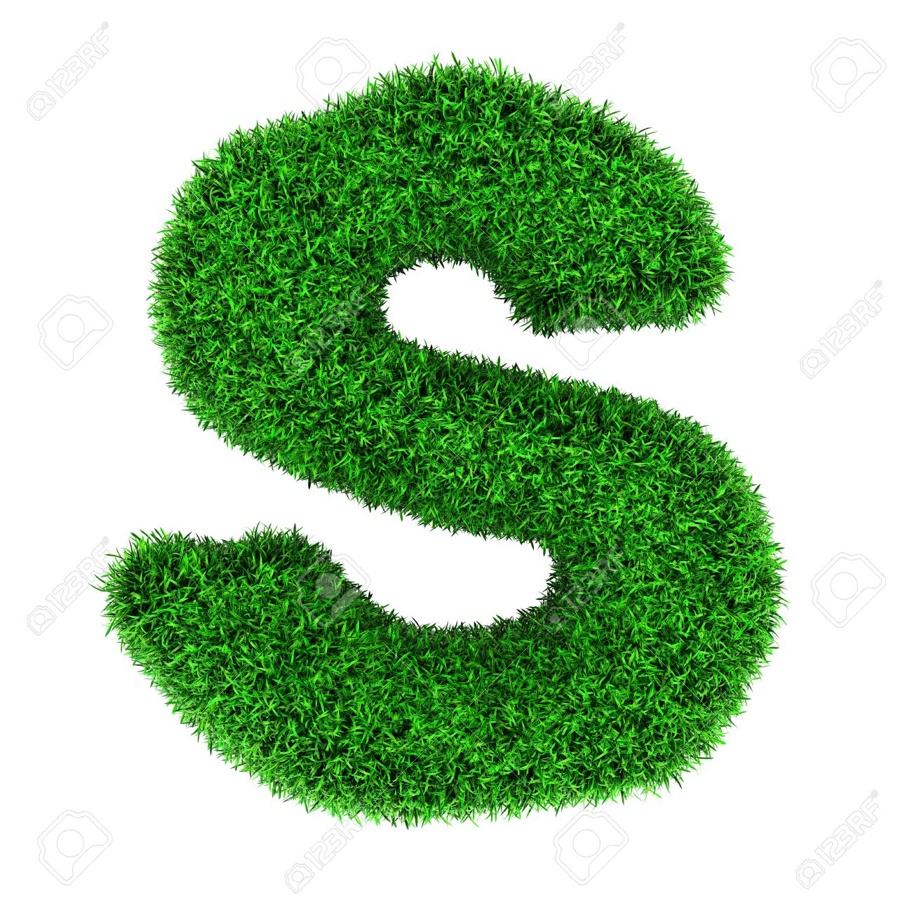 Letter S Made Of Grass Isolated On White Background