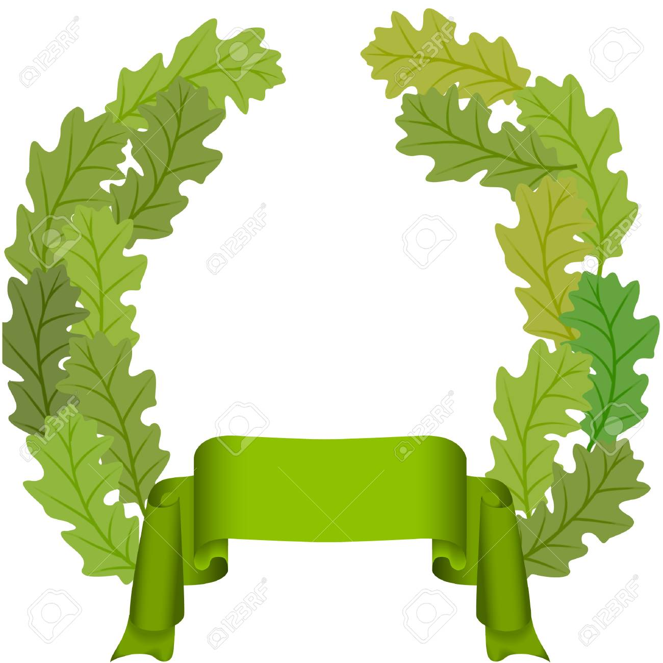green ribbon and oak leaves wreath vector image royalty free