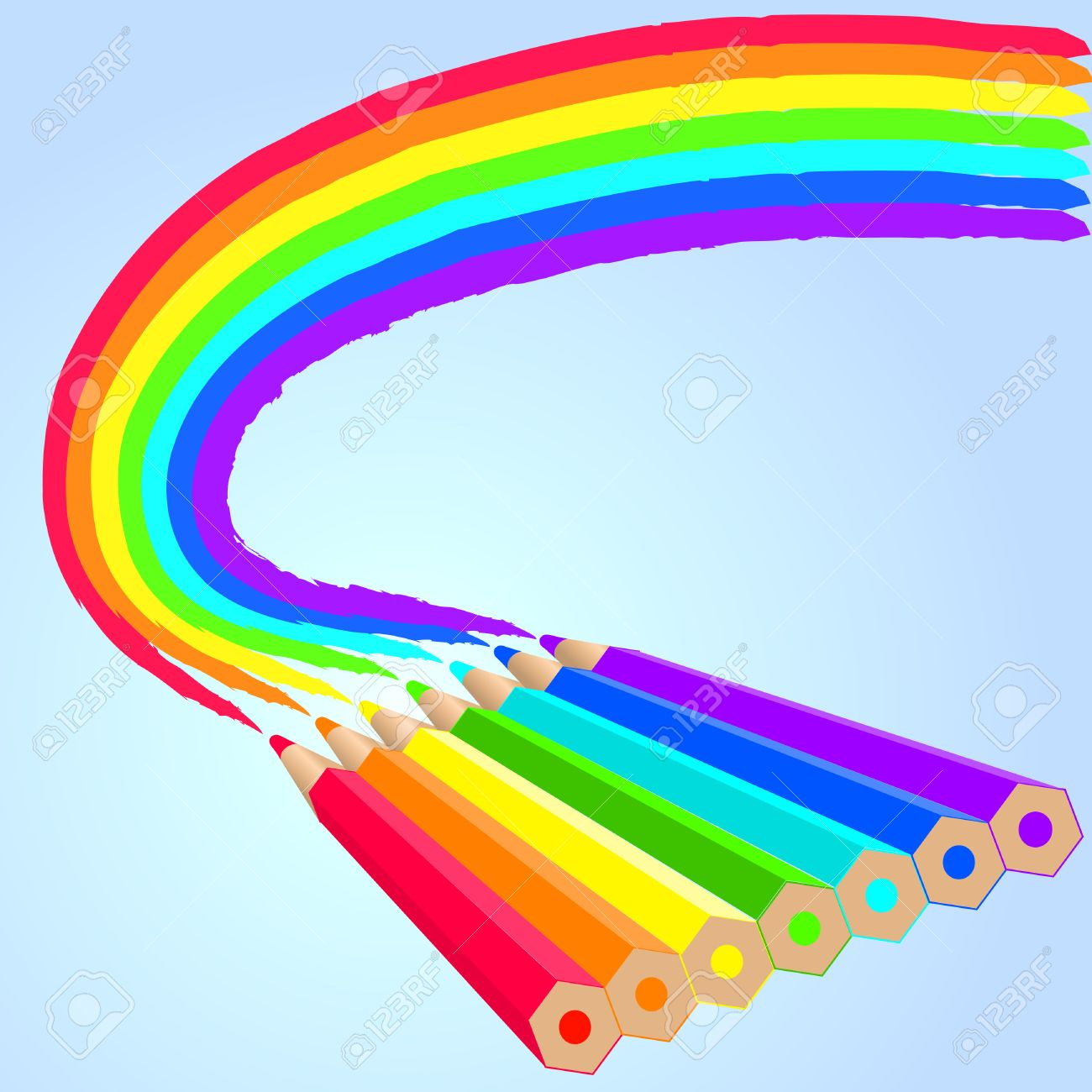 seven different color pencils draw the rainbow royalty free cliparts