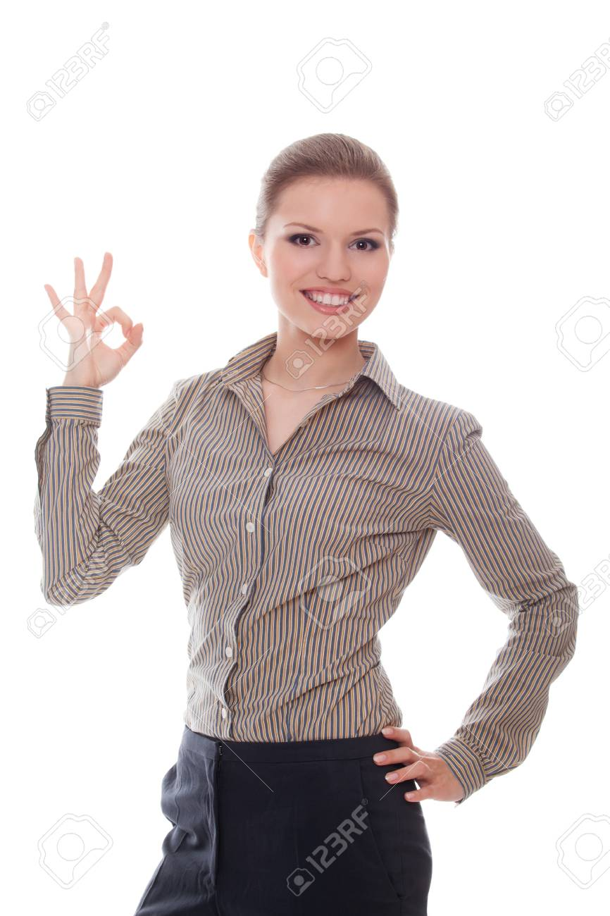 Lovely woman showing ok sign isolated white background Stock Photo - 10101769