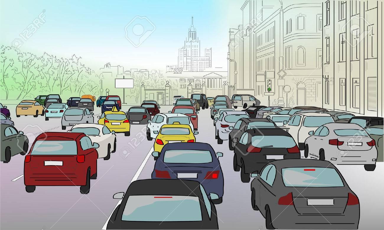 Traffic jam of cars on the main street - 51310290