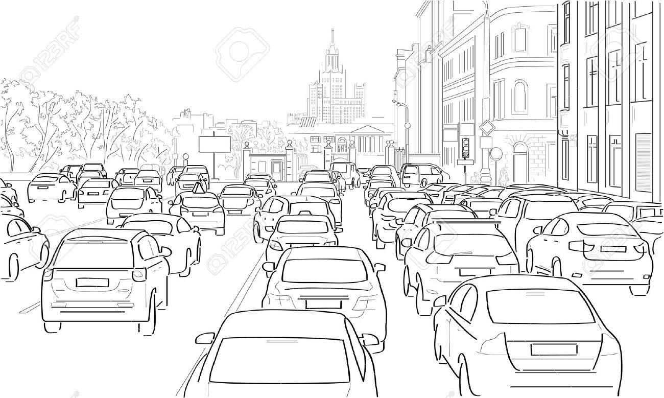 Traffic jam of cars on the main street - 51310293