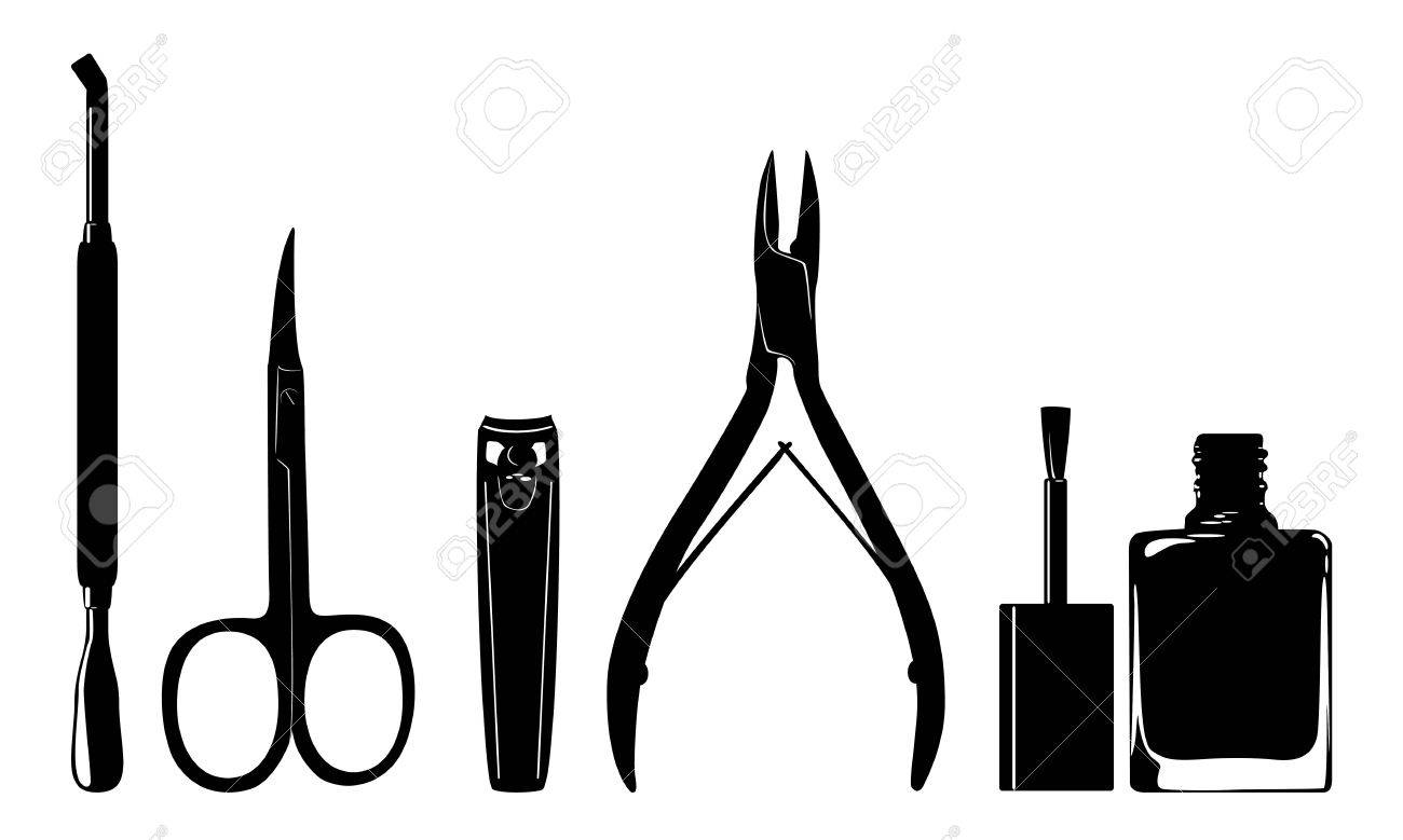 Manicure Nail Clippers File And A Brush Stock Vector