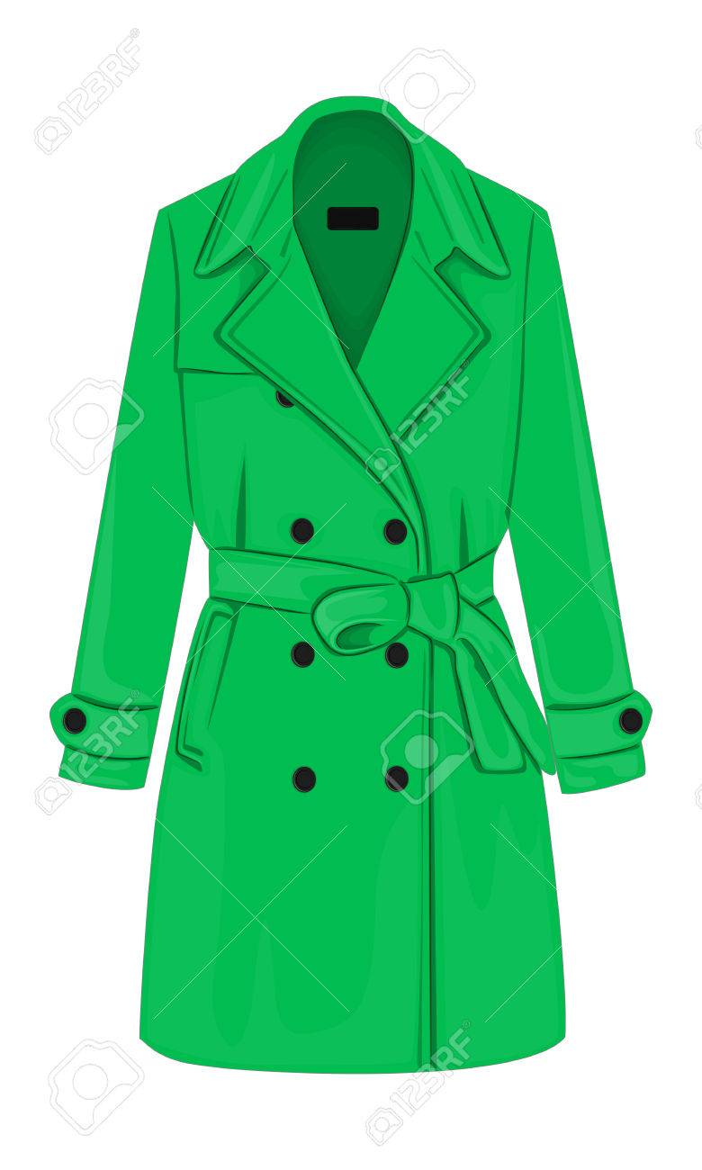 Womens Demi Season Double Breasted Coat With A Belt Royalty Free Cliparts Vectors And Stock Illustration Image 59715435