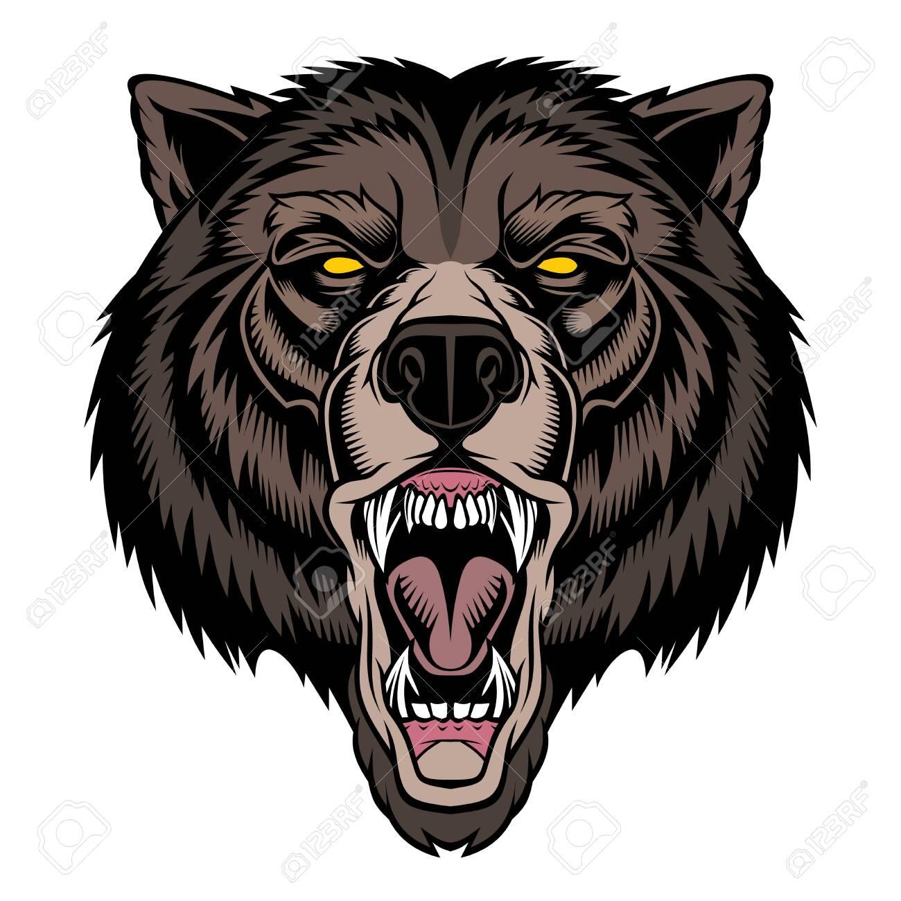 Roaring bear head mascot. - 130422848