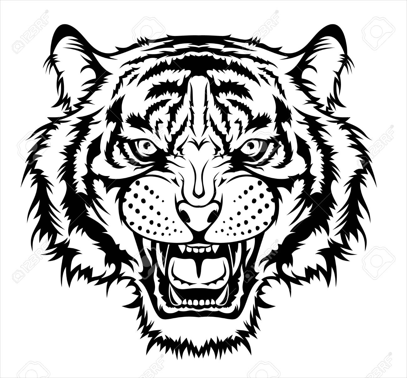 Illustration of Angry tiger head. - 131765638