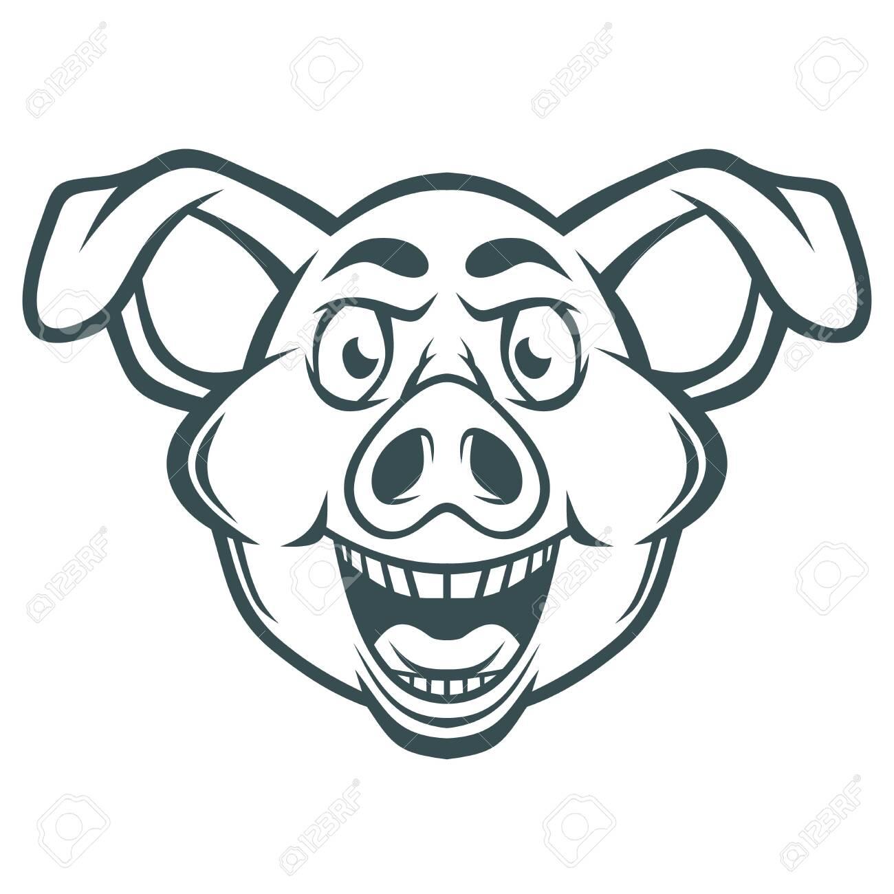 Funny crazy pig face. - 137241195