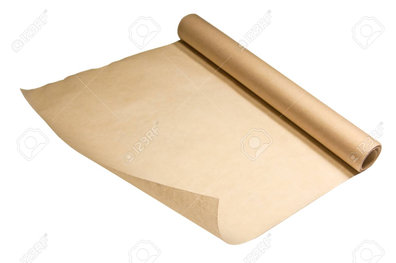 Roll of baking parchment paper for baking in the oven  One corner