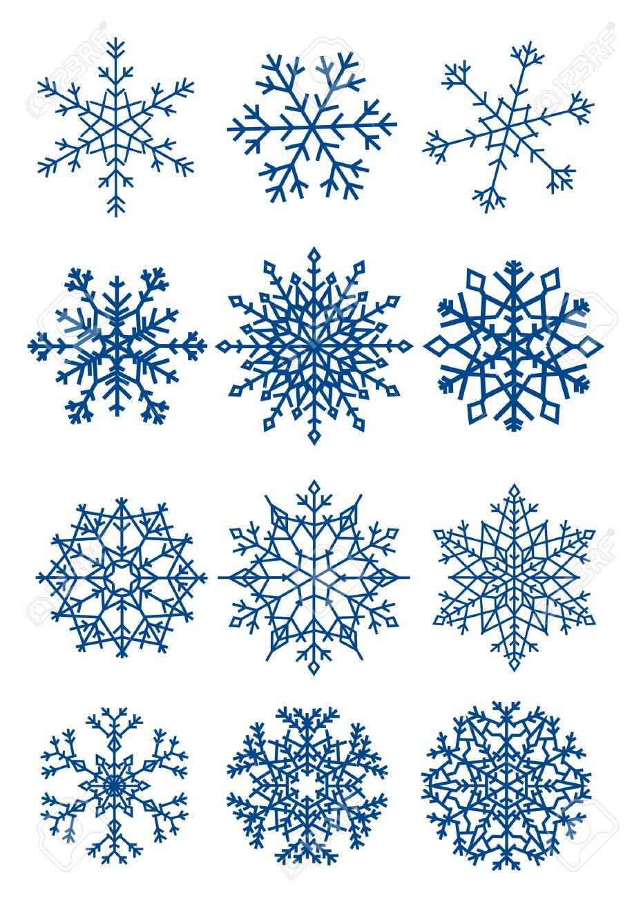 Twelve beautiful different snowflakes isolated on white Stock Vector - 3561099