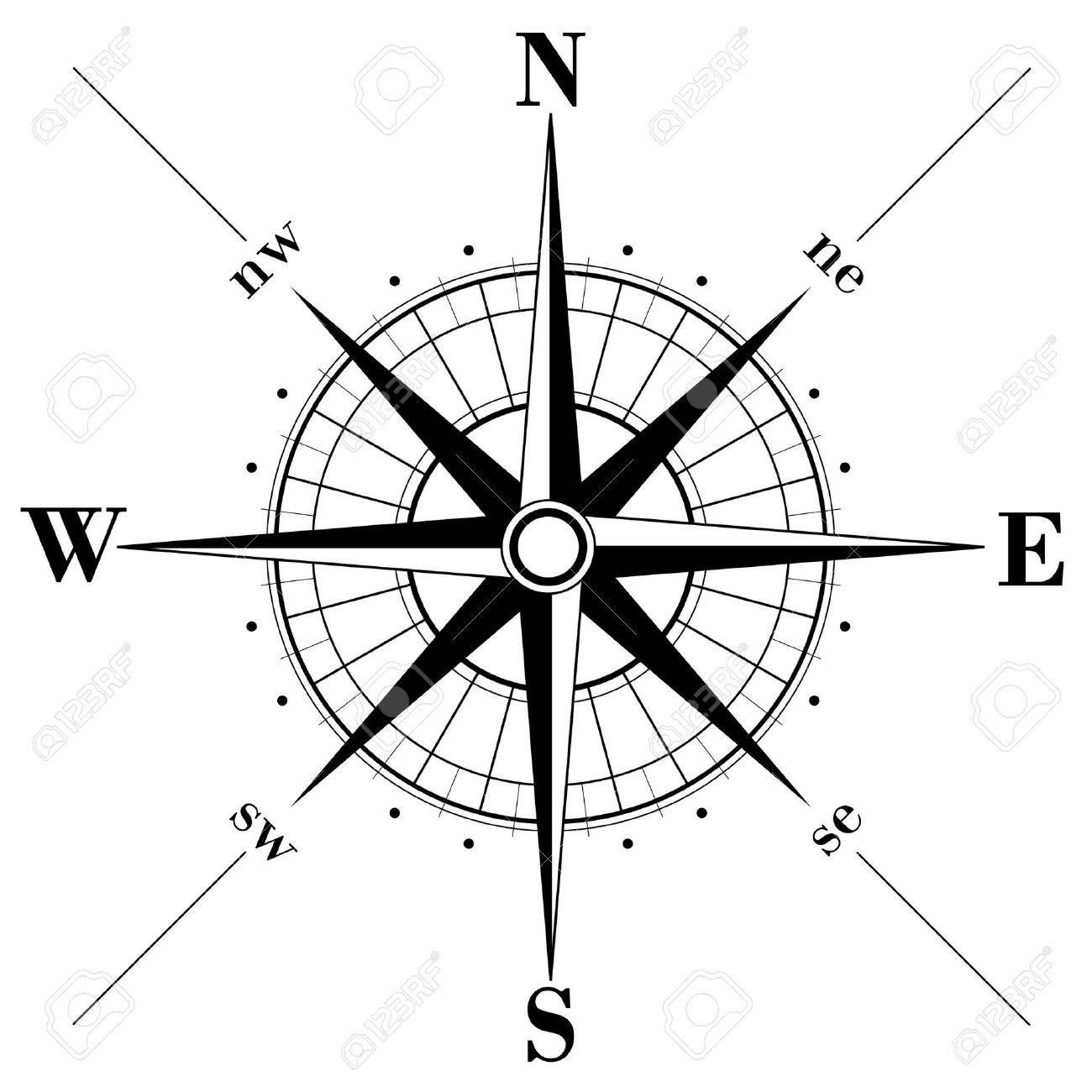 compass rose  Black compass Compass Rose Clipart Black And White