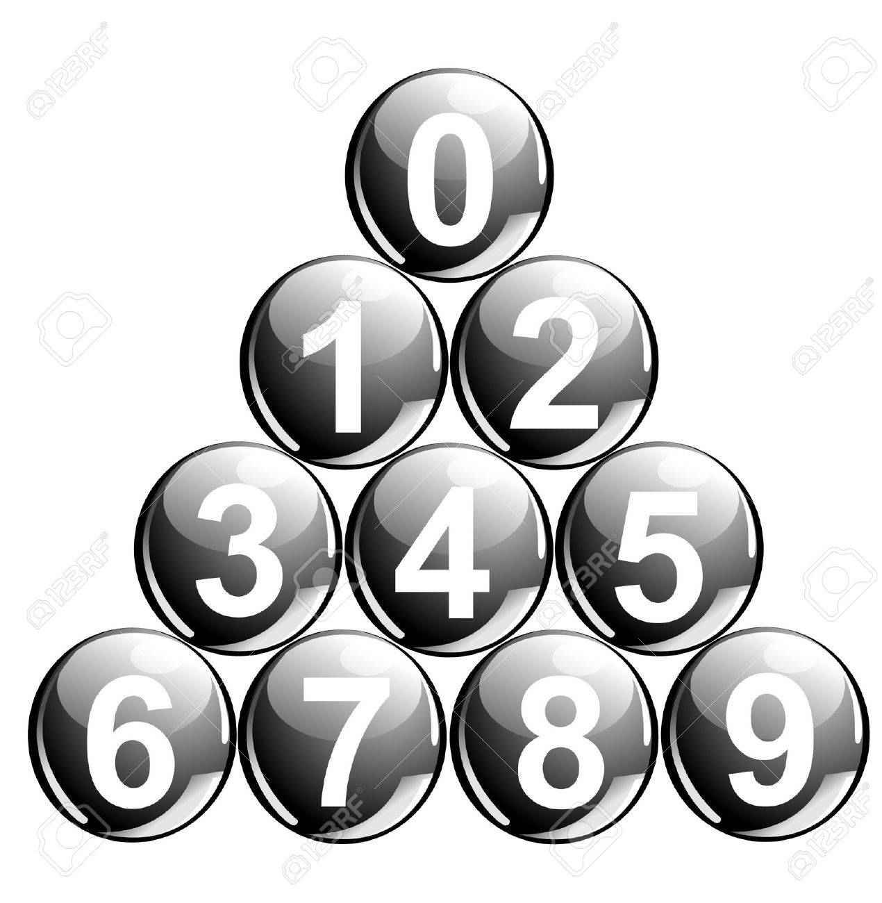 10 black balls with numbers in the shape of pyramid Stock Vector - 3845204