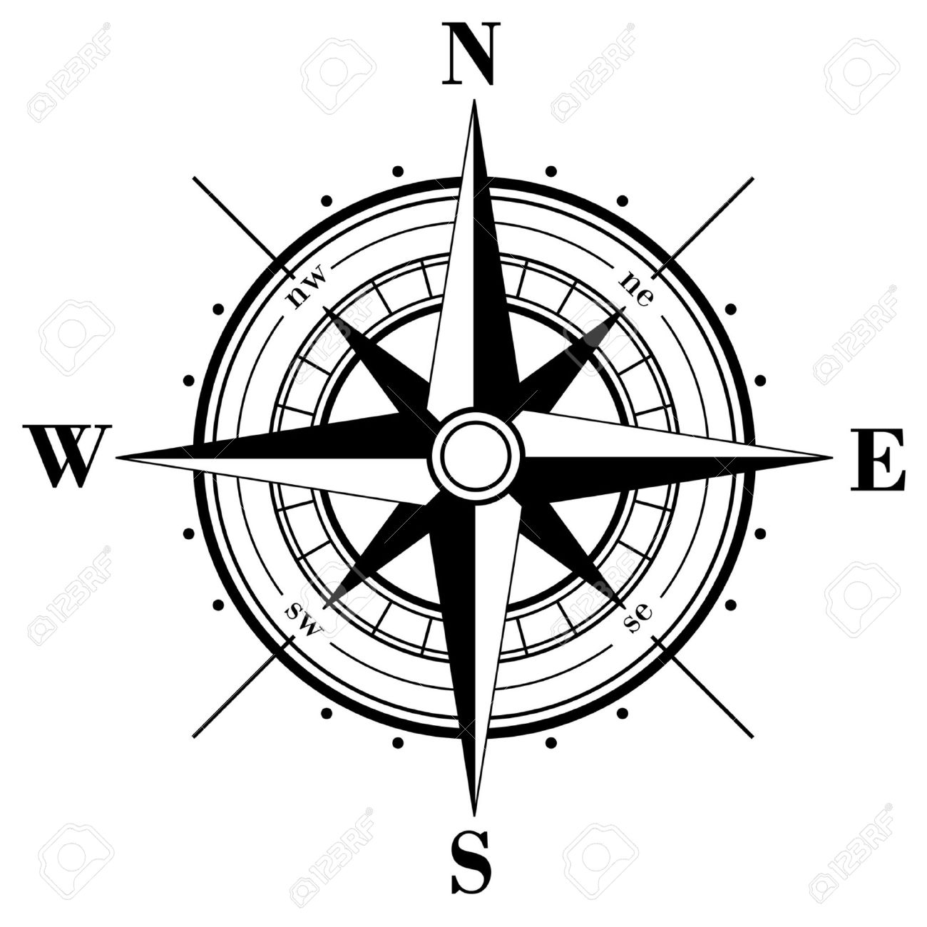 Black Compass Rose Isolated On Whte Stock Vector