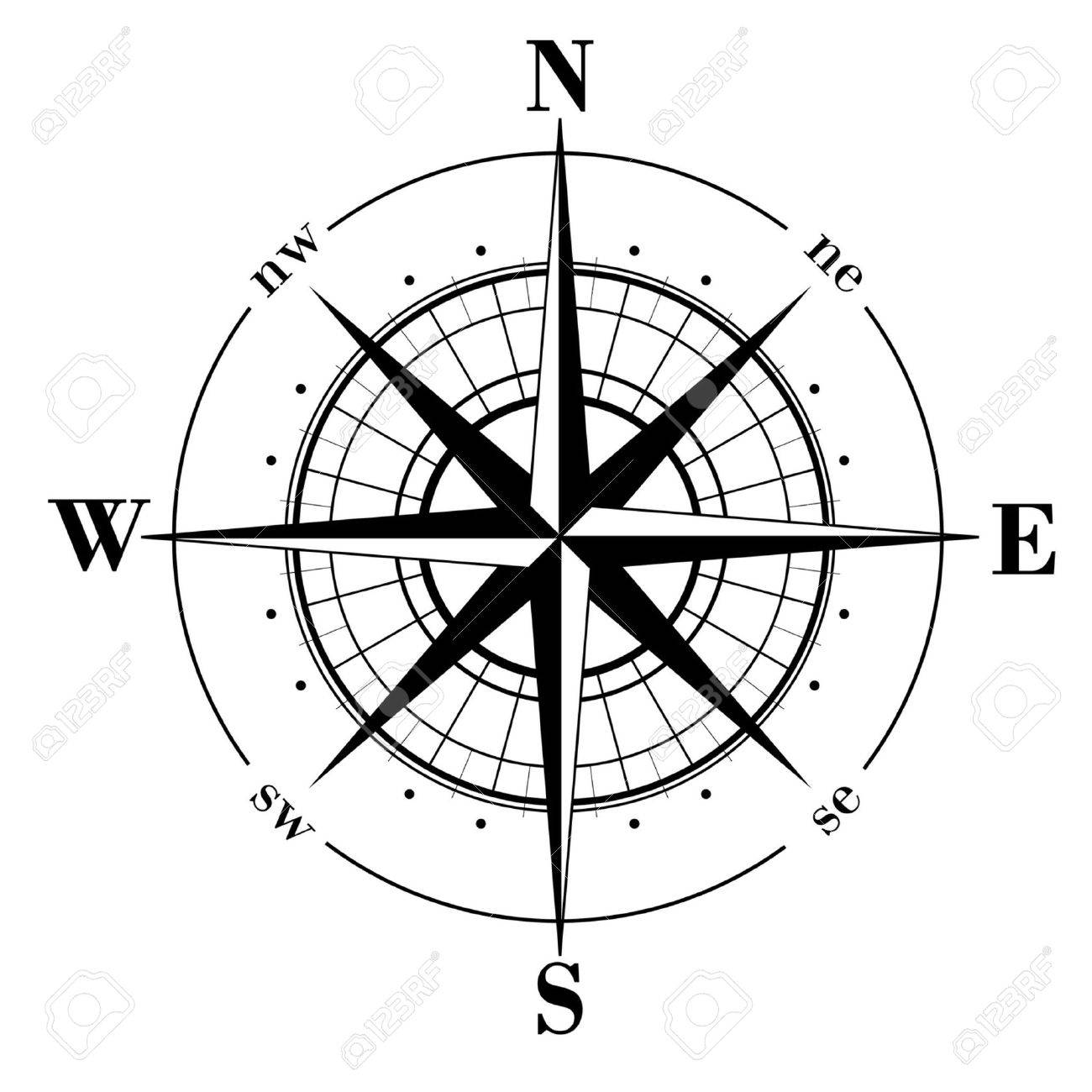 Black compass rose  isolated on whte Stock Vector - 4106855