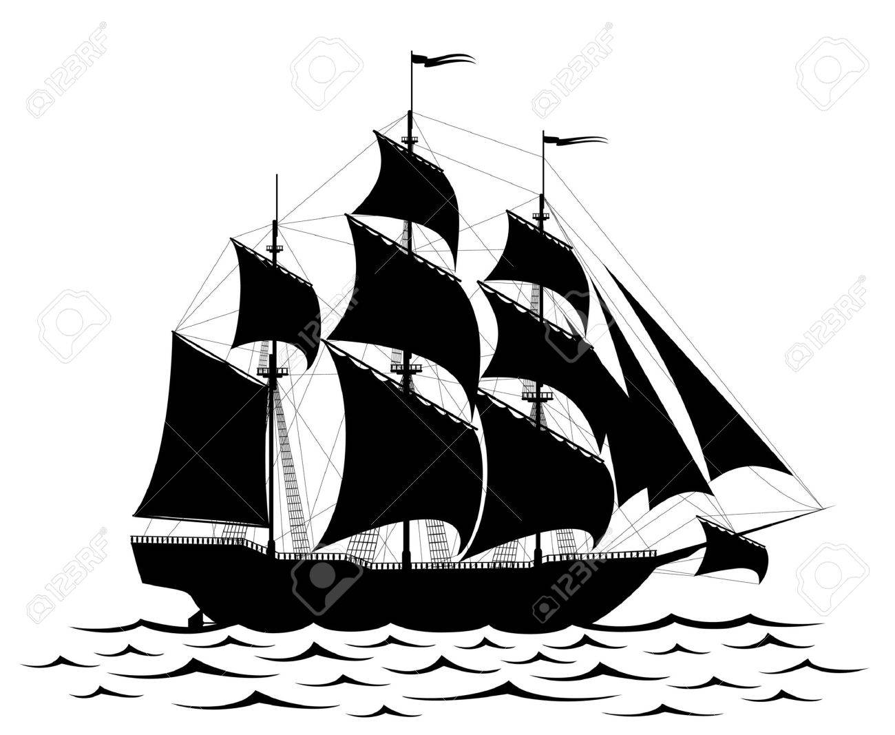 Black old ship and waves isolated on white Stock Vector - 4528382