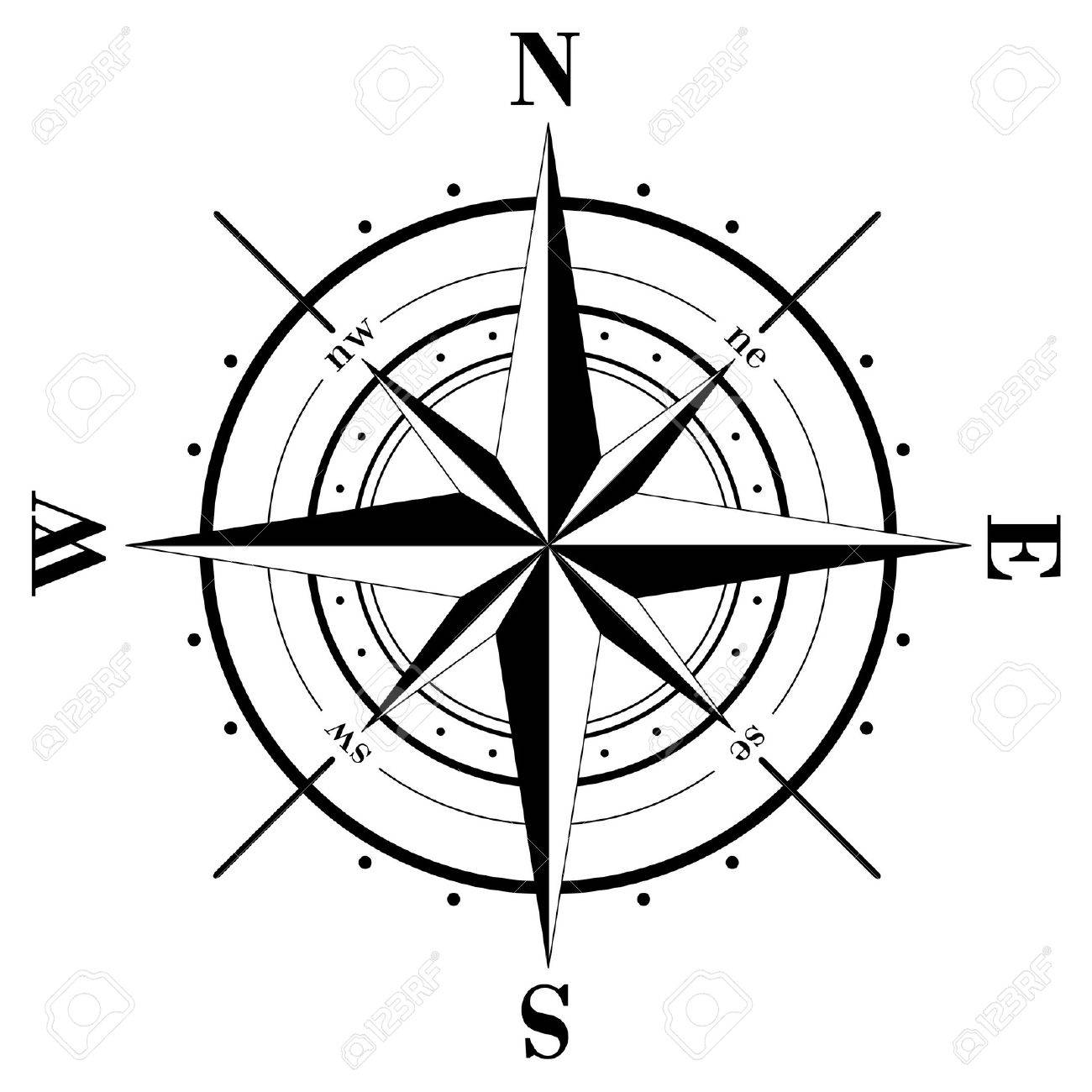black compass rose isolated on whte royalty free cliparts vectors rh 123rf com compass rose vector art wind rose compass vector