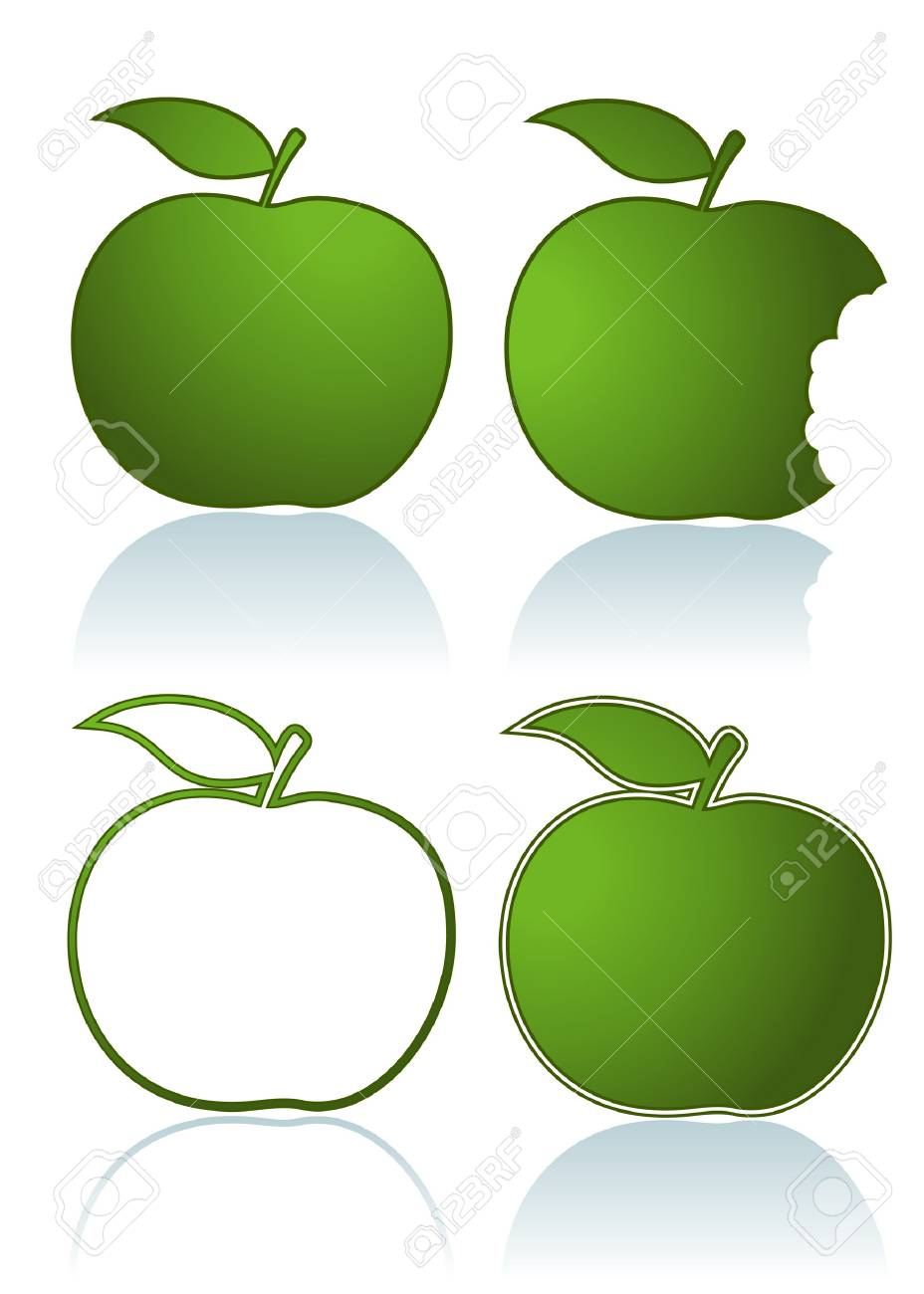 Set of different green apples isolated on white Stock Vector - 4701681