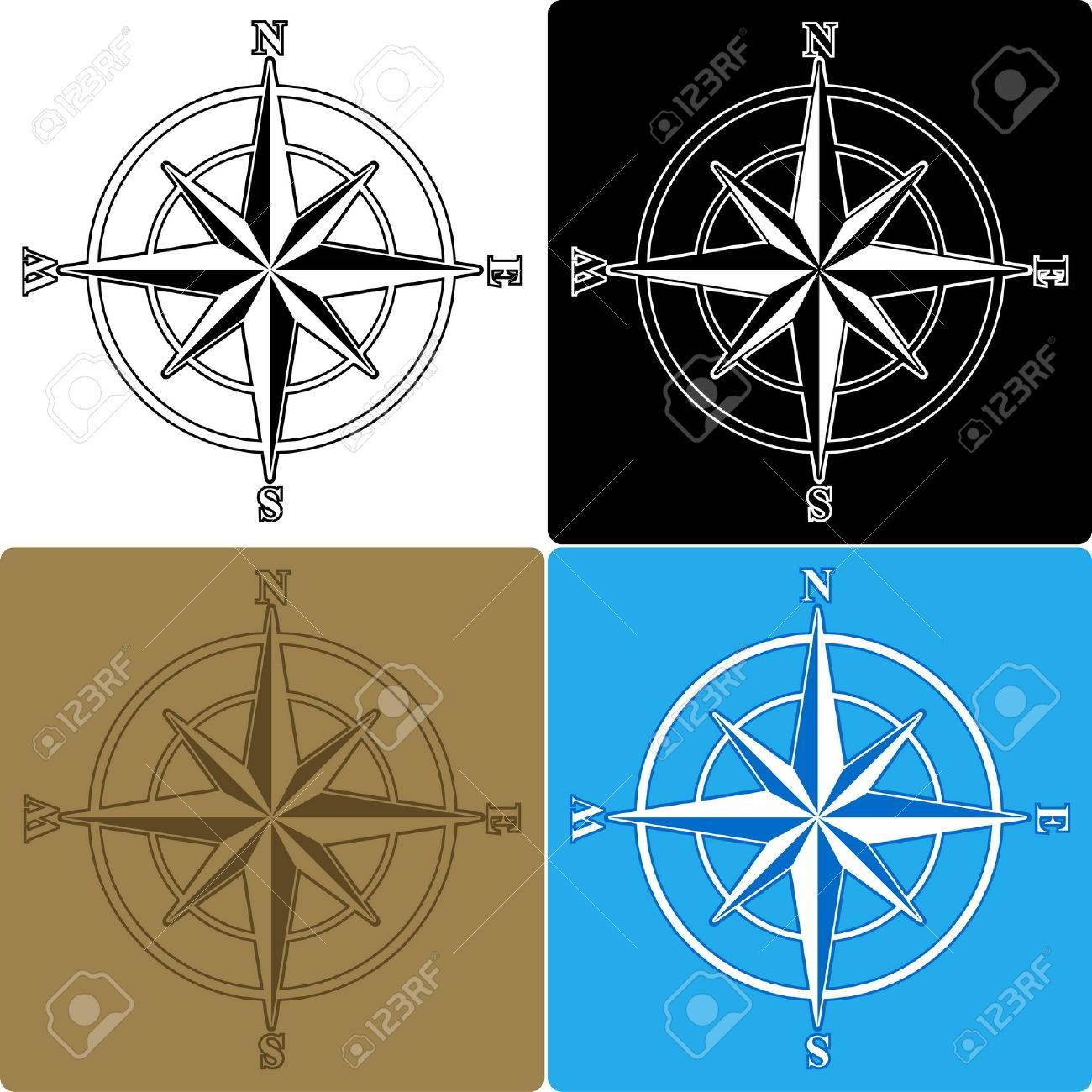 Set of isolated compass roses Stock Vector - 5277780