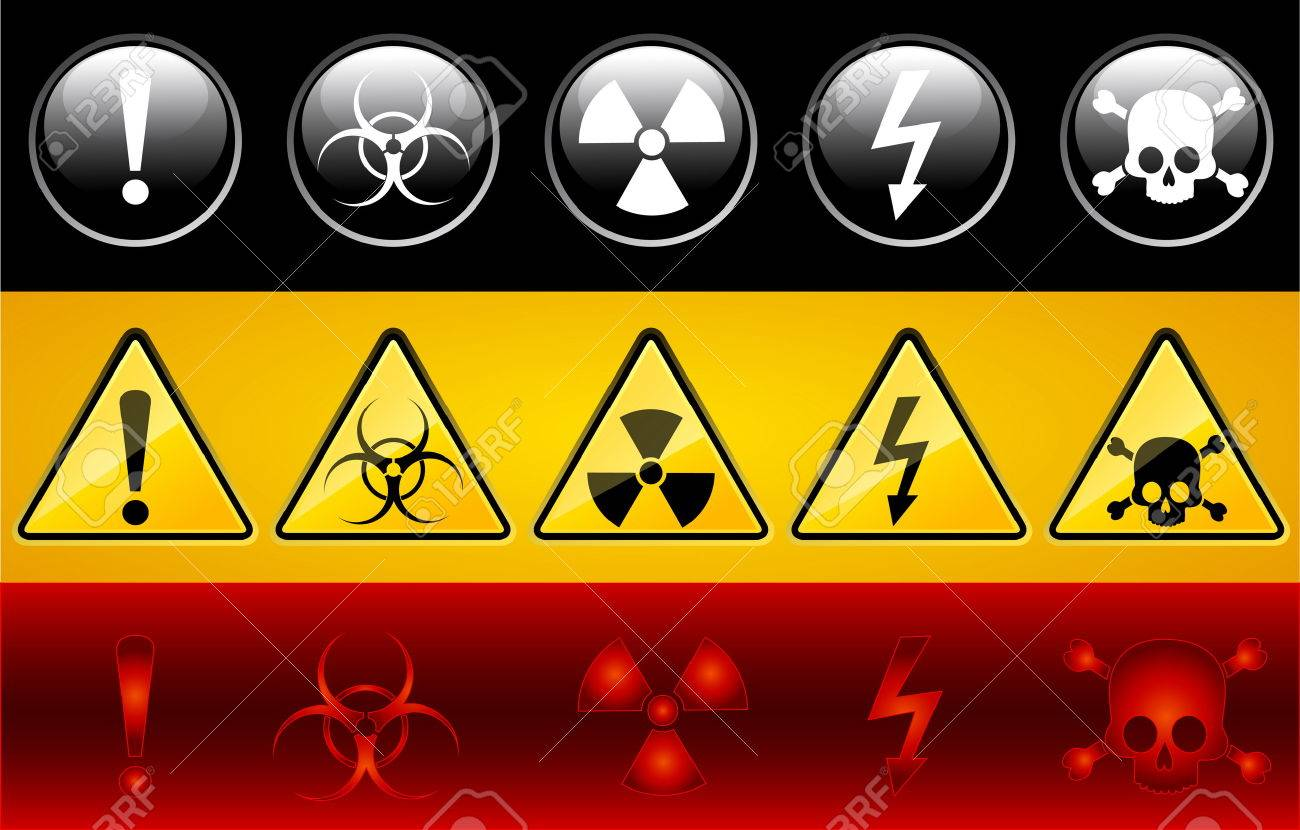 Set of icons of main warning symbols Stock Vector - 5340080