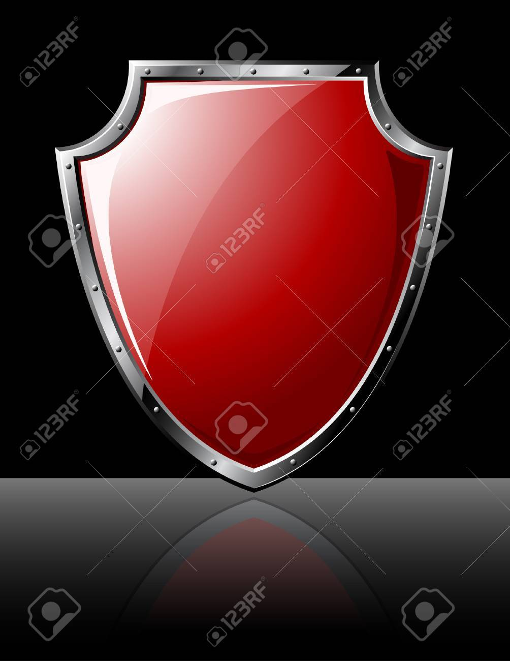 Steel shiny shield - isolated on black Stock Vector - 5500551