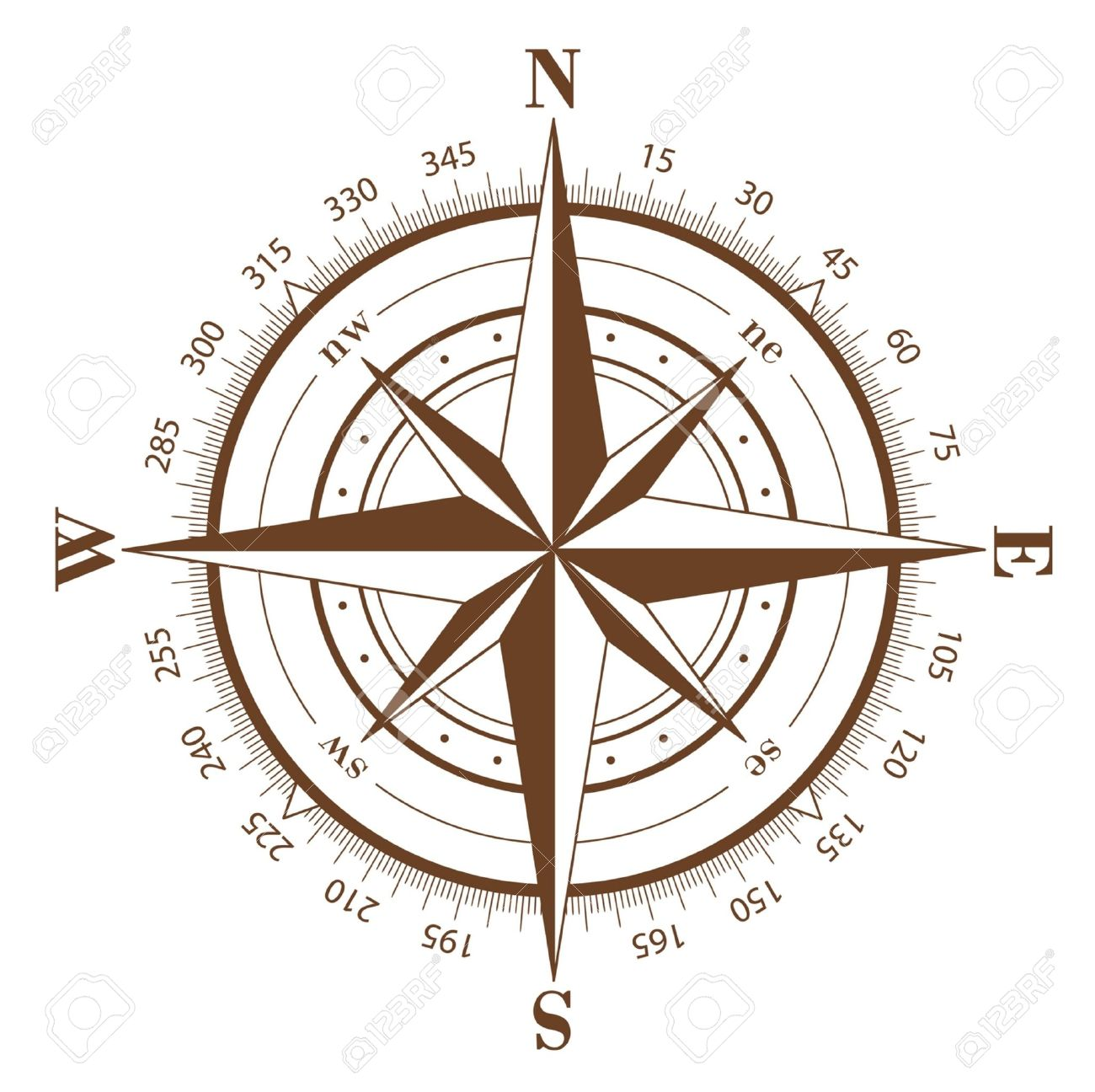 Brown compass rose isolated on white Stock Vector - 5756428