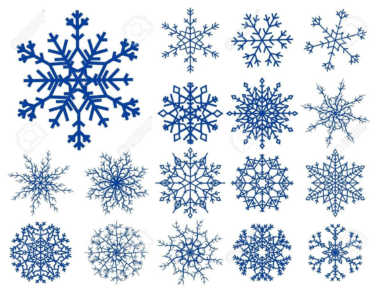 Set of beautiful different snowflakes isolated on white Stock Vector - 5914998