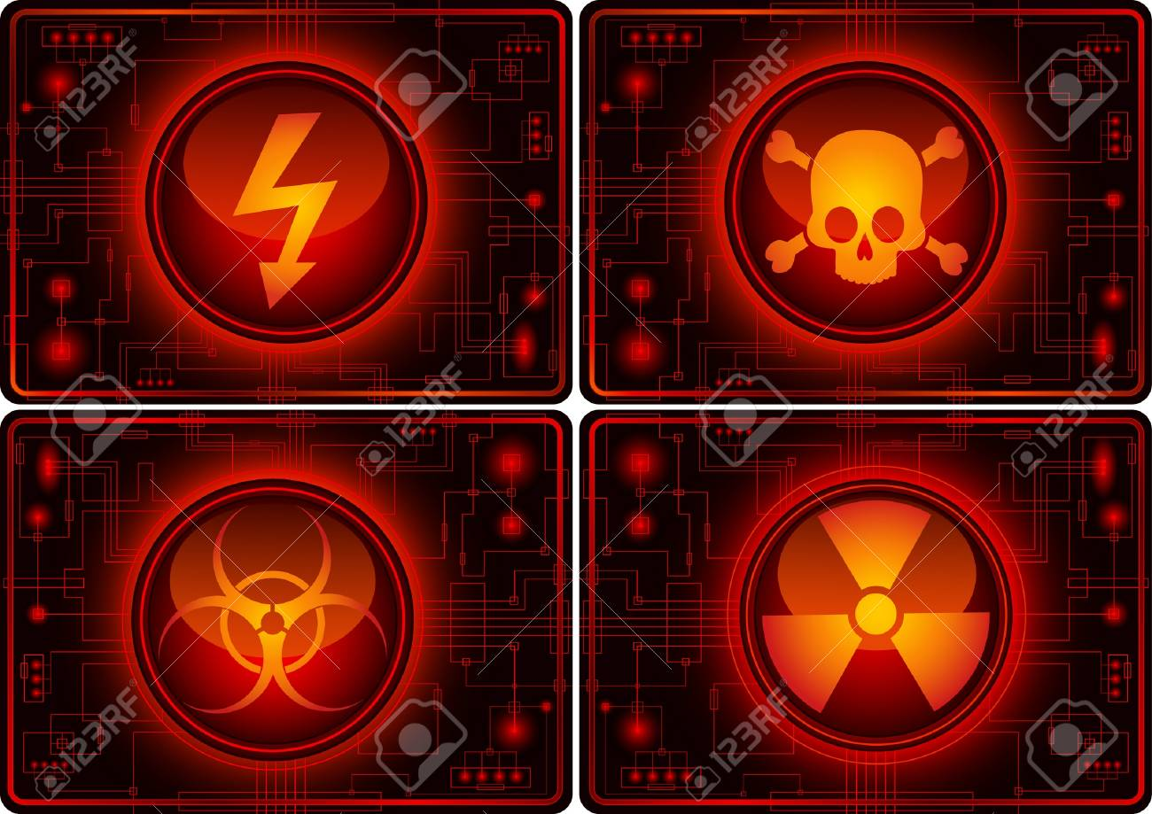 Set of glossy buttons with warning symbols Stock Vector - 6063784