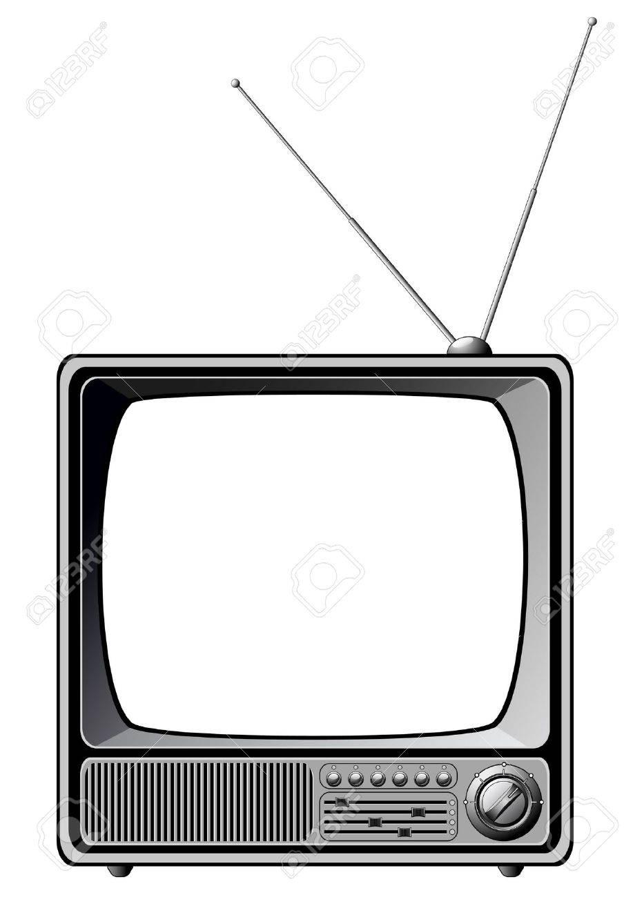 retro tv isolated on white stock vector 6178066