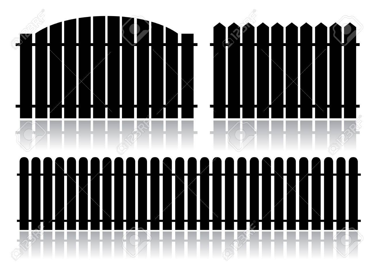 Black fence isolated on white Stock Vector - 7913828