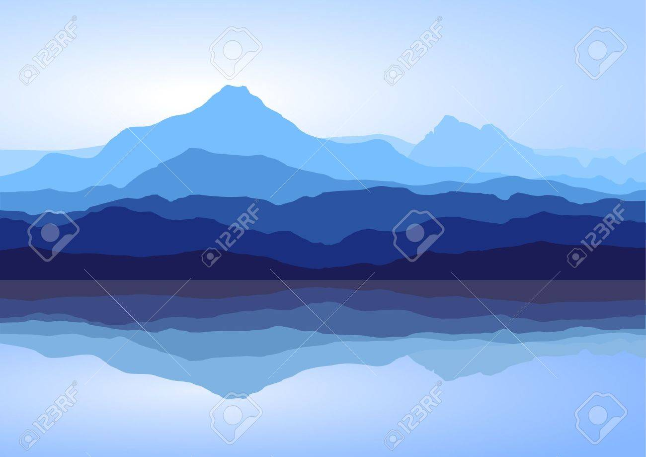 View of blue mountains with reflection in lake Stock Vector - 8192376