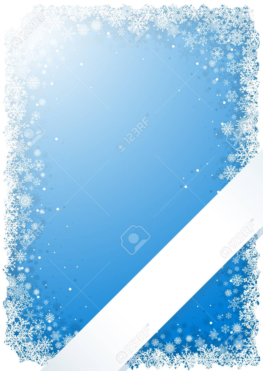 Frame from snowflakes on blue background with ribbon Stock Vector - 8738504