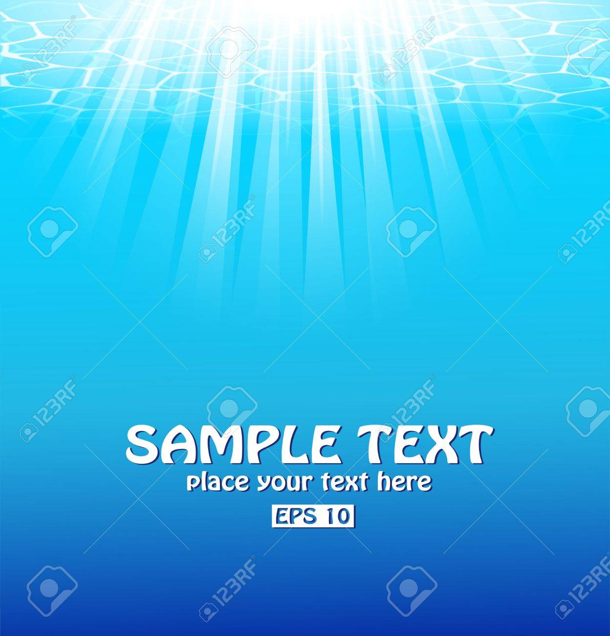Blue underwater background with sunbeams. Stock Vector - 9572782