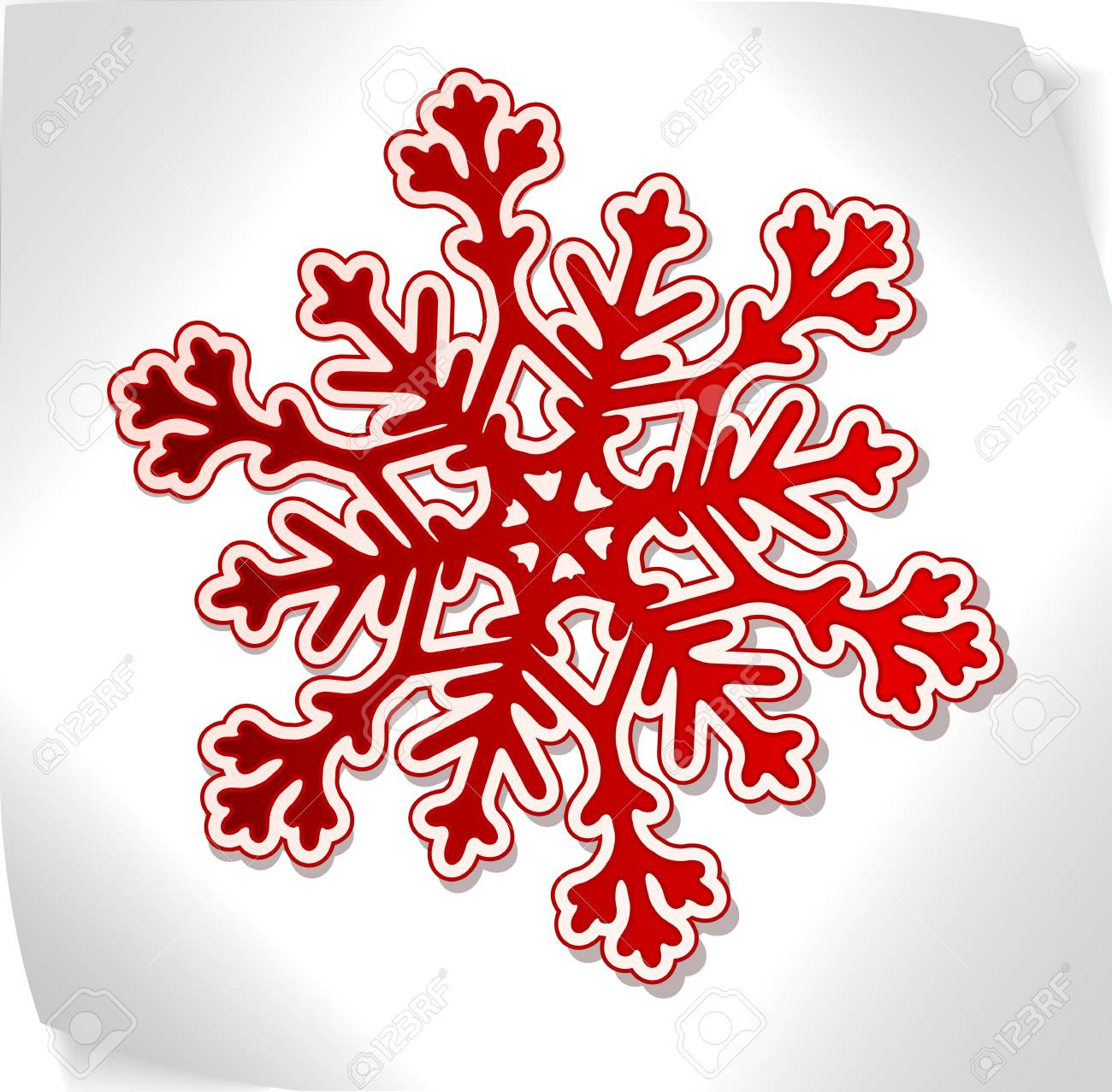 Red paper snowflacke over blank paper sticker Stock Vector - 11252201
