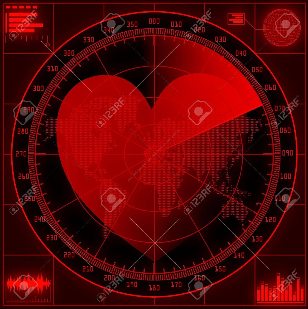 Radar screen  with red heart. Stock Vector - 11973411