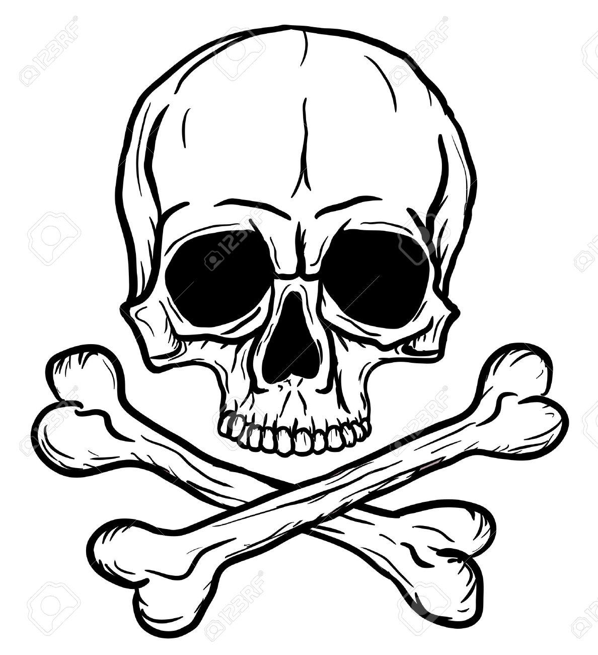 Schädel Und Knochen Auf Weißem Hintergrund Isoliert Lizenzfrei ...