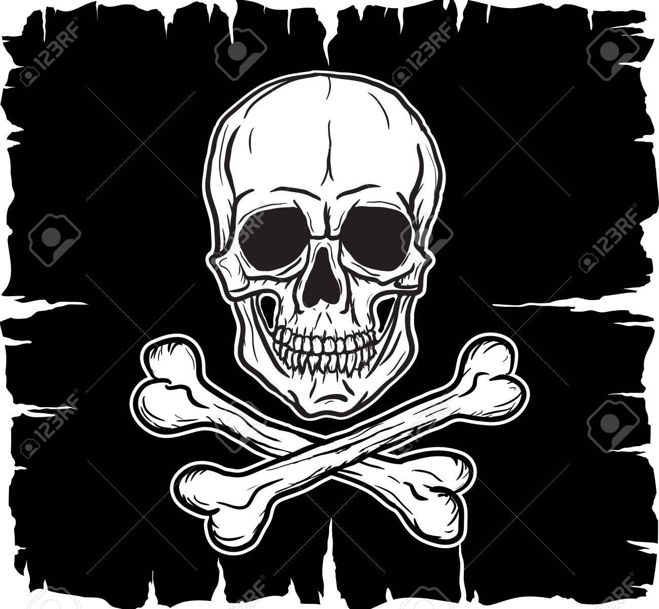 Skull and Crossbones over black flag Vector illustration - 14800596