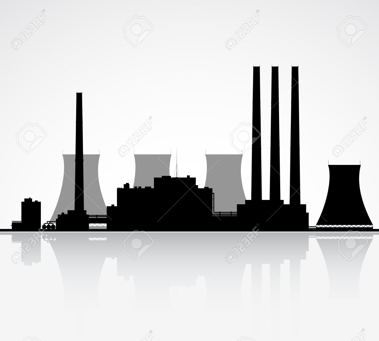 Silhouette Of A Nuclear Power Plant Illustration Royalty Free Cliparts Vectors And Stock Illustration Image 15173453