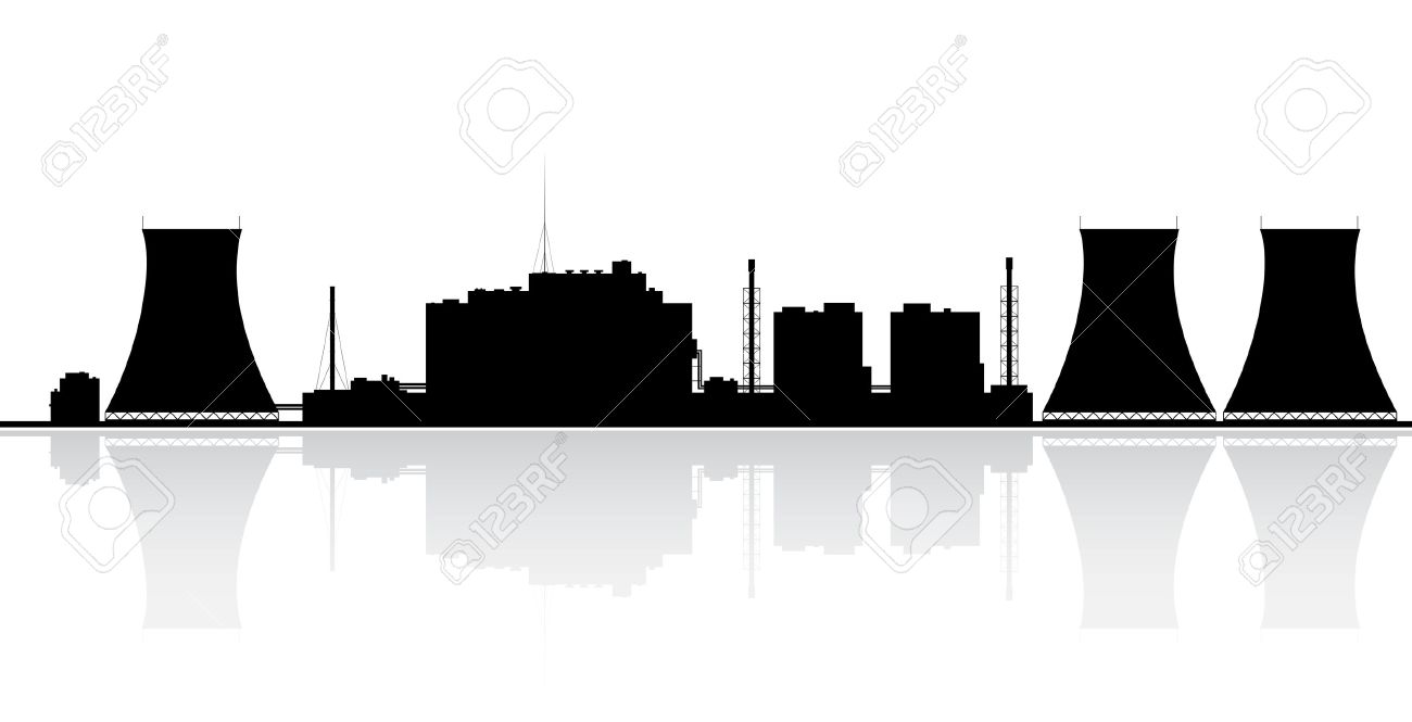 Silhouette of a nuclear power plant Vector illustration - 15237644