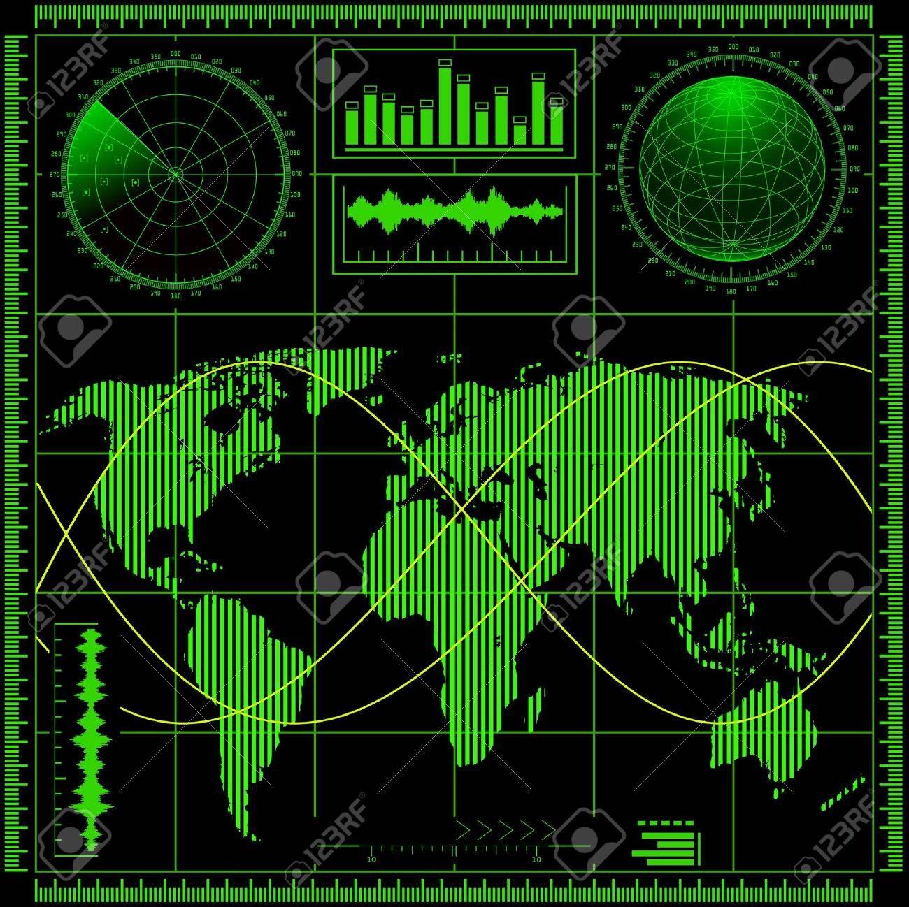 Radar screen with world map Vector EPS8 - 15237645