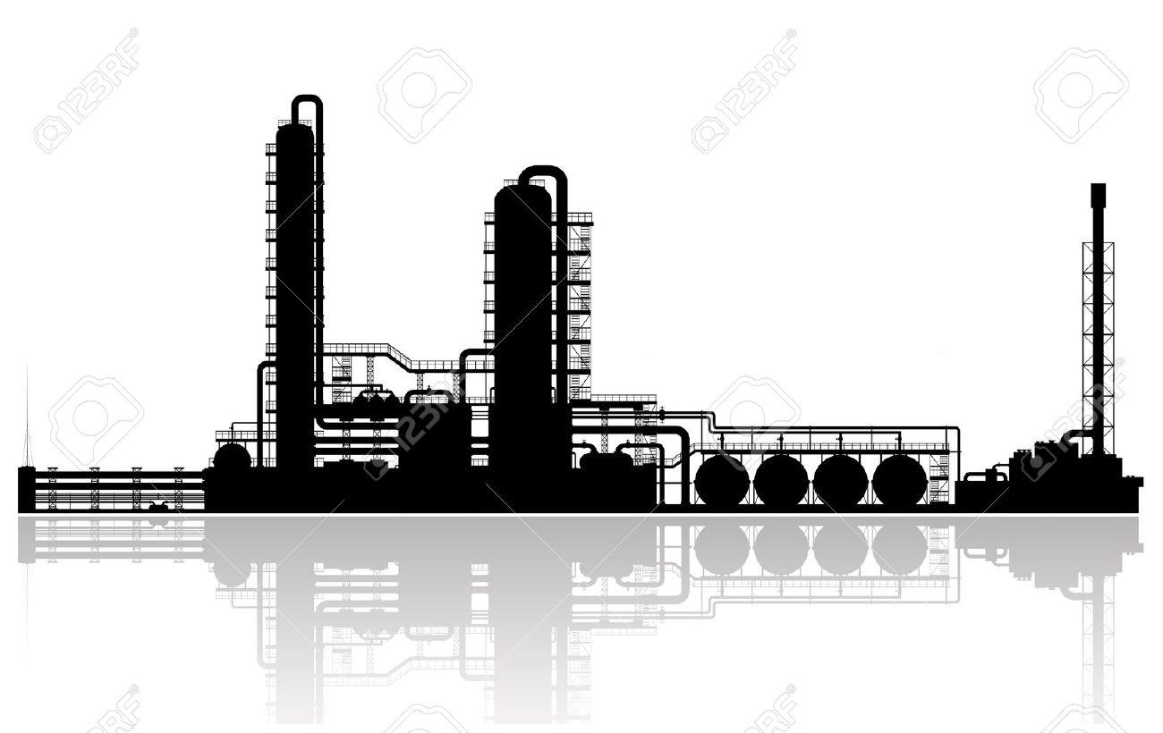 Oil Refinery Plant Silhouette illustration - 17931912