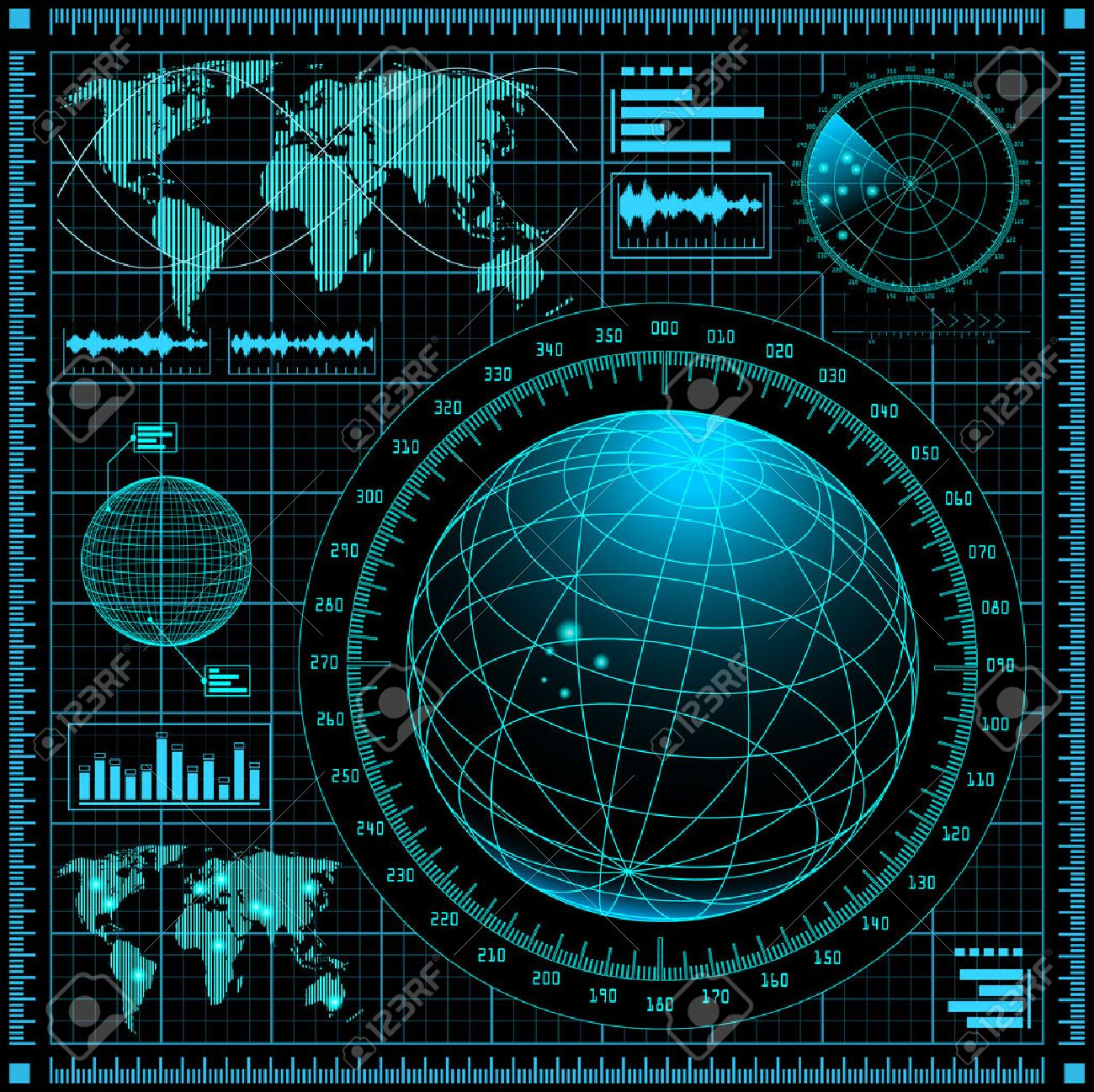 Radar screen with world map - 25519941