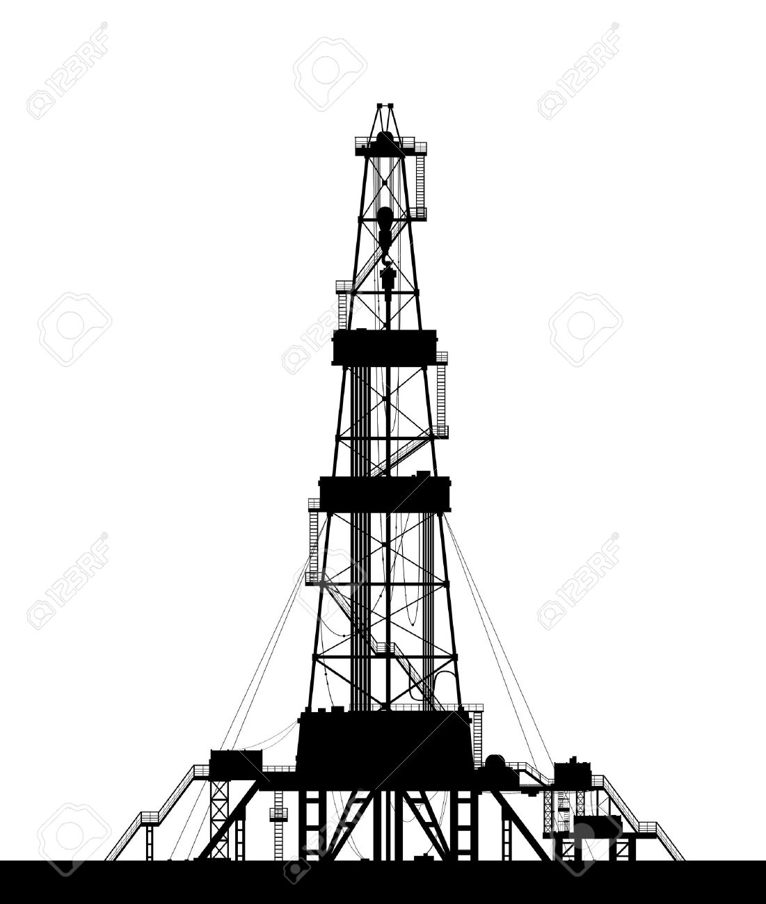 Oil rig silhouette  Detailed vector illustration isolated on